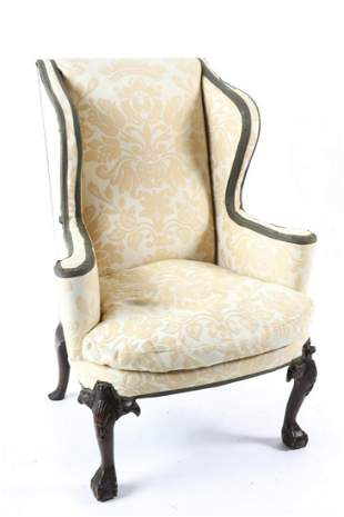 (19th c) CHIPPENDALE STYLE MAHOGANY WINGBACK CHAIR
