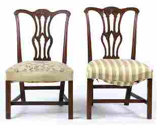 (2) CHIPPENDALE MAHOGANY SIDE CHAIRS