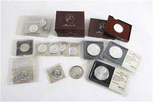 GROUPING OF SILVER EAGLES & FRANKLIN HALF DOLLARS