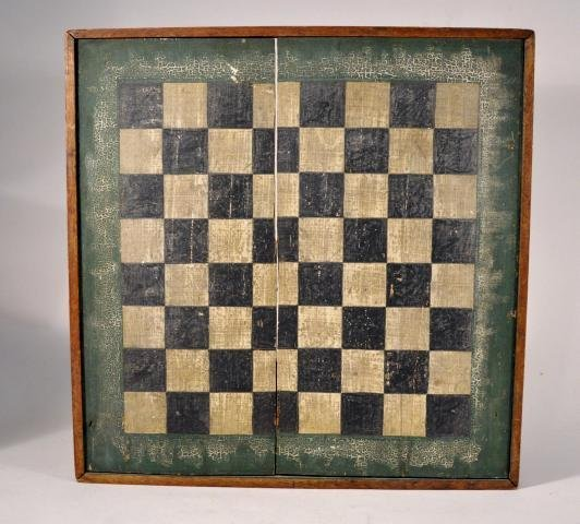 5: Country painted square pine checker board in old pai