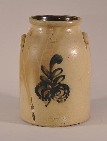 6: Stoneware two gallon decorated crock. Height: 12 1/2
