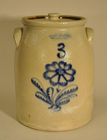 9: Stoneware covered three gallon crock with floral dec