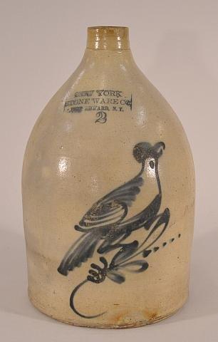 10: Stoneware jug, Port Edward NY, decorated with blue