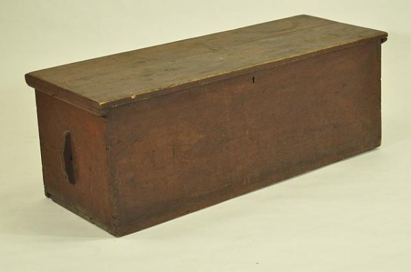 16A: Dovetailed sea chest in old red paint
