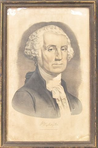 22: Early Currier & Ives print of George Washington in