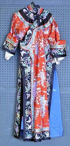 170: 19th century lady's embroidered silk robe