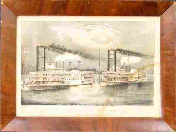 "208: Currier & Ives lithograph ""The Great Mississippi S"