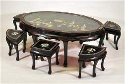 211A: 20th century Chinese low table with six stools in