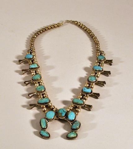 271: Native American silver and turquoise squash blosso