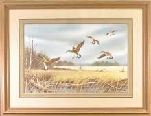 361: American School (20th century) Geese in flight, si