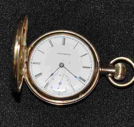 443: Lady's Illinois 14k gold pocket watch in engraved