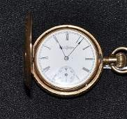 444 Ladys Illinois 14k gold pocket watch in a fancy e