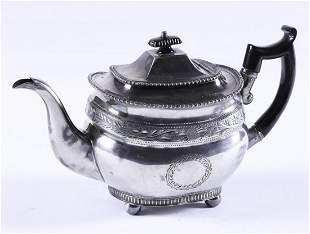 UNUSUAL COIN SILVER TEAPOT signed I. BROWN & Co.