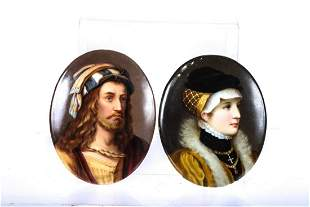 (2) PORTRAIT MINIATURES AFTER OLD MASTER PAINTINGS