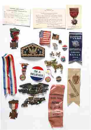 POLITICAL CAMPAIGN LOT with BUTTONS, PINS etc