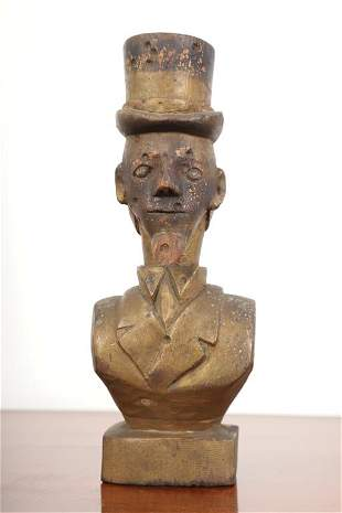 FOLK ART CARVED AND PAINTED BUST OF UNCLE SAM