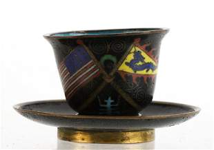 JAPANESE CLOISONNE CUP & SAUCER with AMERICAN FLAG