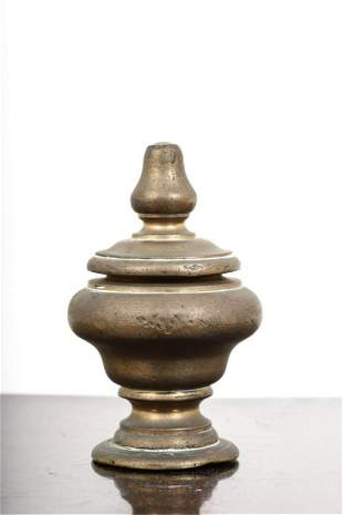 TURNED BRASS COVERD URN with STEEPLE FINIAL