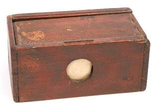 (19th c) BEE BOX in RED & BLACK STRIPED PAINT