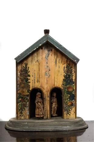 LOVEJOYS IMPROVED METALLIC WEATHER HOUSE BAROMETER
