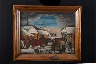 """(19th c) AMERICAN SCHOOL """"Farmyard in Snow"""""""