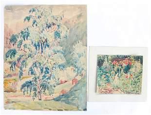AMERICAN SCHOOL (20th c) (2) Watercolors