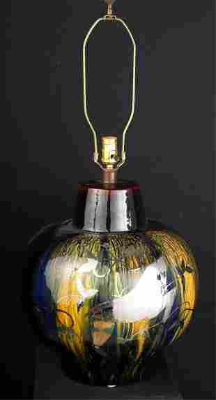 MOD SILVER LUSTER over DRIPPED GLAZE TABLE LAMP