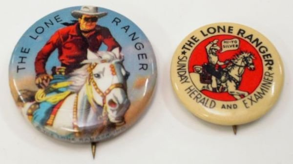 8: Two Lone Ranger Pin Back Buttons