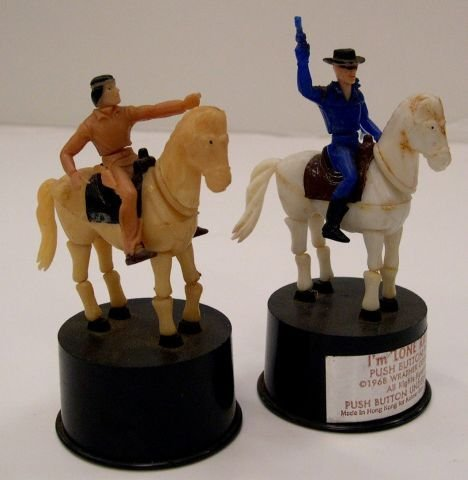 17: Two Plastic push button puppets of The Lone Ranger
