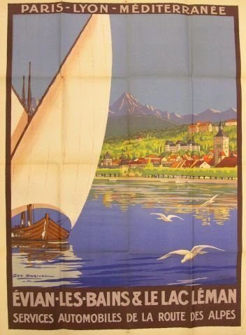 442: French Travel Poster signed Geo Dorival 22 42 1/2""