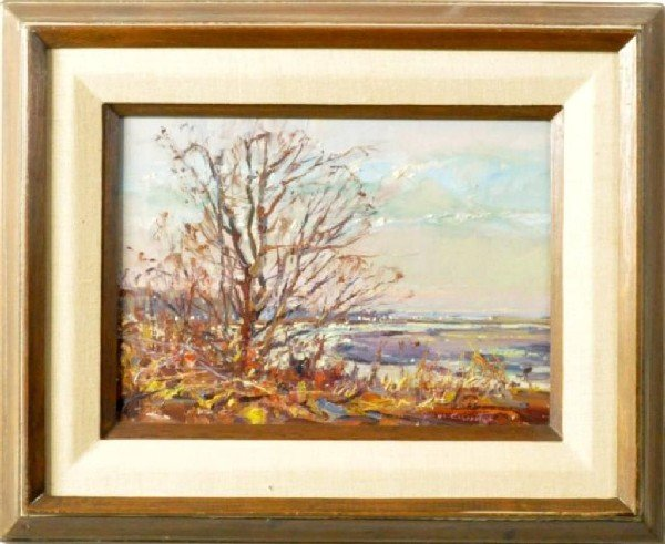 5: American School (20th C.) Shore Scene in Autumn, sig