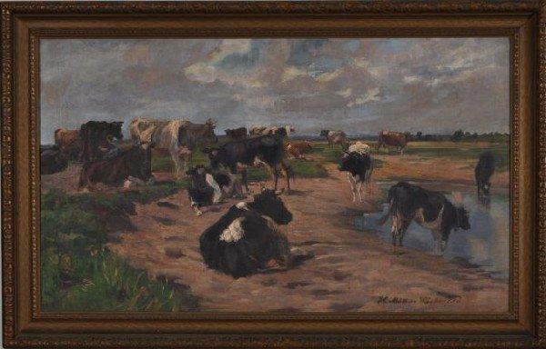 6: Heinrich Muller Wachenfeld, German (1861-1925) Cows