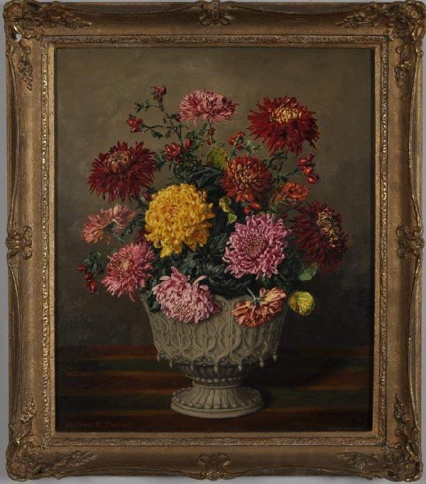 11: American School (20th C.) Still Life with Flowers,