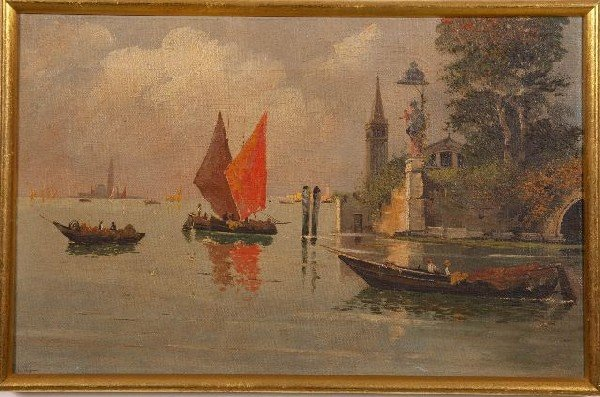 15: Italian School (19th C.) Venetian Lagoon, signed. O