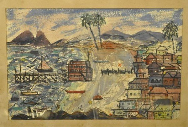 "16: Mexican school (20th C.) Coastal View, signed ""Sali"
