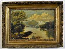 109A  American School 19th C Primitive landscape  u