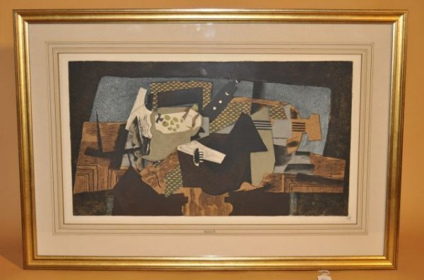 """19A: Georges Braque Lithograph, 12 1/4"""" X 23"""" (image) f"""