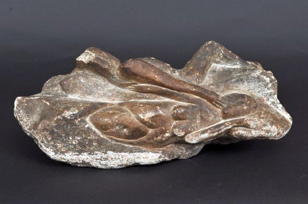 406: A primitive soap stone carving of two reclined nud