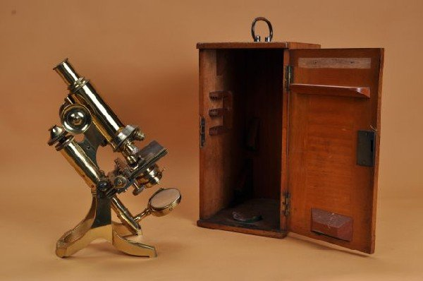 407: 19th C brass cased microscope J. Swift & Son, Lond