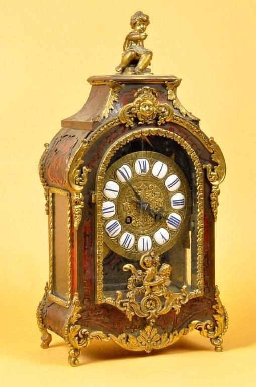 408: Late 19th C French Boulle style shelf clock
