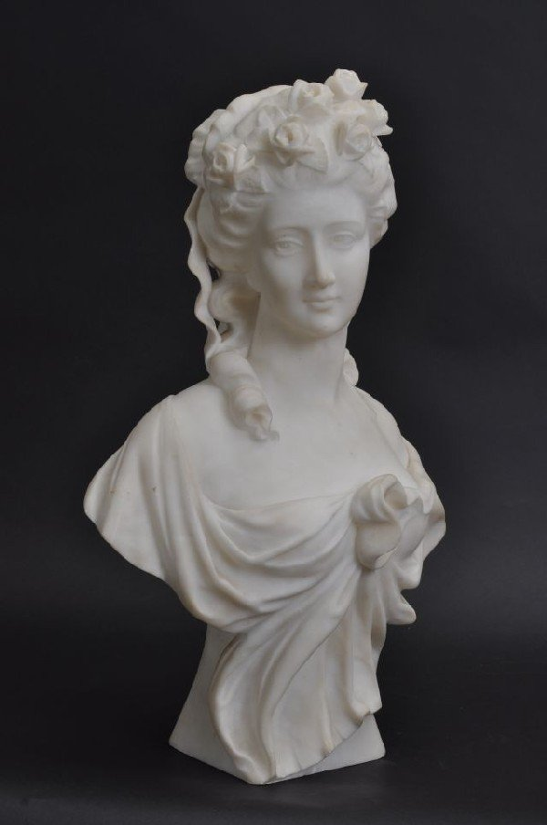 411: Italian white antique 19th C marble bust