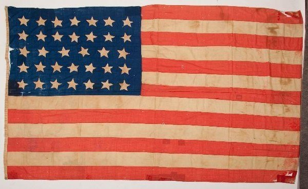 413: 19th Century 34 star American Flag used during Civ