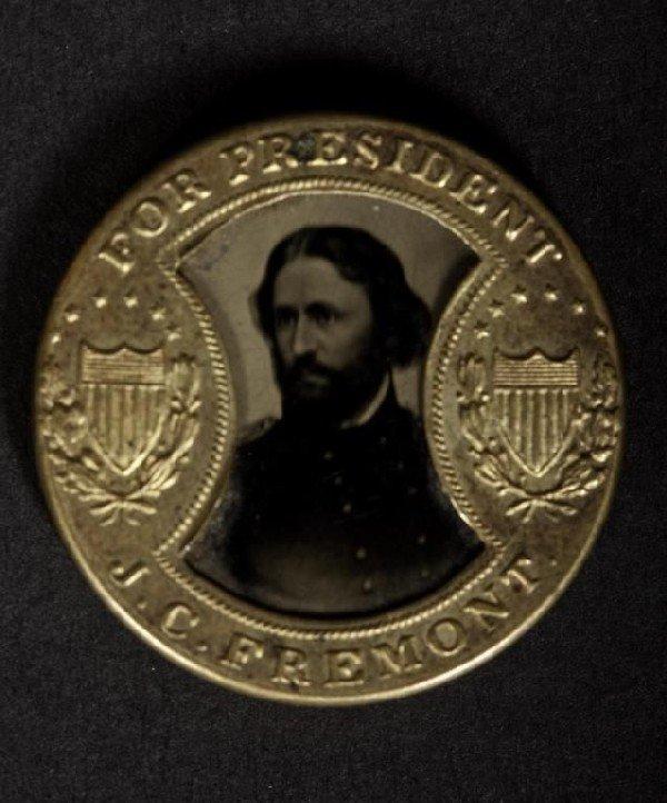 418: Rare Presidential campaign tin type button, John C