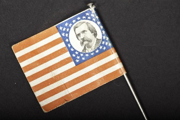 """419: 1883 Campaign paper flag, 1 1/2"""" l"""