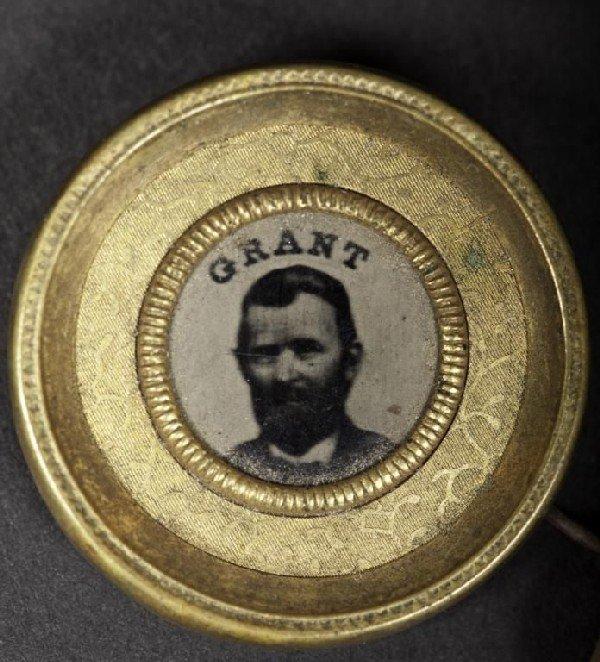 """421: Round gilt campaign pin of Grant, 1"""" dia"""
