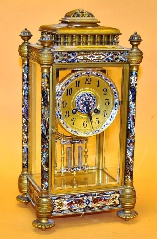 603: French crystal regulator clock with champleve enam