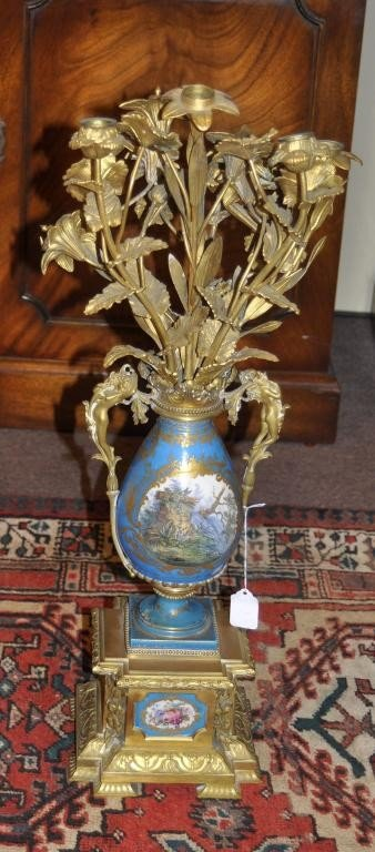2: 19th century French Sevres porcelain six light candl