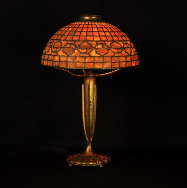 8: Tiffany acorn table lamp, signed Tiffany Studios NY
