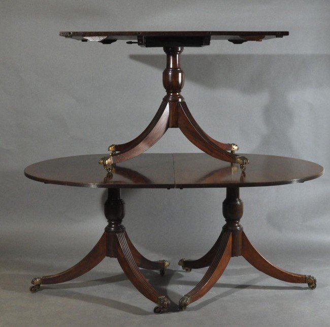 9: English regency three pedestal dining table.