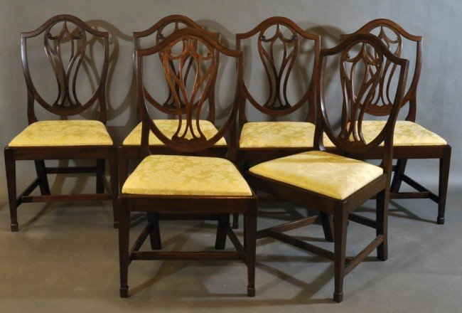 10: Set of six Hepplewhite mahogany sheild back dining